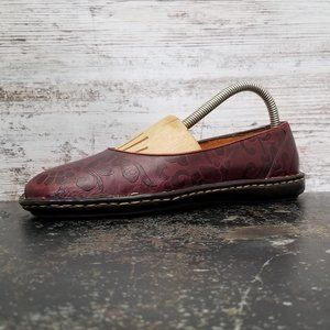 Womens Born Leather Flats Sz 7 38 B Brown Embossed